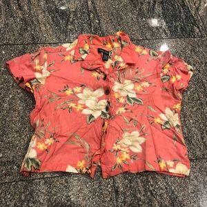 Short Sleeve Button Down Tropical Shirt